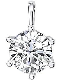 Rafaela Donata Damen-Anhänger mit original verziert mit Kristallen von Swarovski® Crystal® (ohne Kette) weiß - Solitär-Anhänger mit weißen Kristalen farblos in Krappen-Fassung 60836015