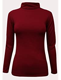Oromiss Womens Ladies Plain Polo Neck Top High Neck Stretch Long Sleeves