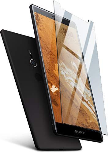 moex 360 Grad R&um-Schutz [Case + Panzerglas] für Sony Xperia XZ3 | Extrem dünne Handyhülle in Schwarz inkl. kristallklare Schutzfolie aus Hartglas