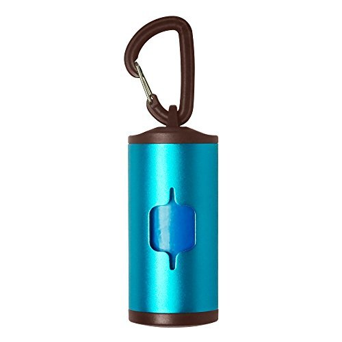 I-Fashion Dog Poop Bag Dispenser Aluminium Tube mit 2 Rolle Bags Abfallbeutel 5 Farben, Blau