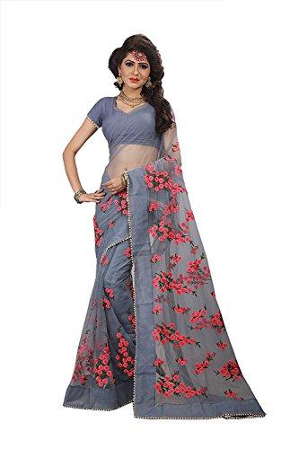 future india Mono Net Embroidery Work Saree With Blouse Piece (Grey_Free Size)