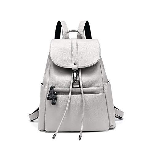 Love LIBINI Damen Rucksackhandtaschen Echtes Leder Schultertaschen Wasserdichte Umhängetaschen Einbrecher Shopper Modische Tasche Grau