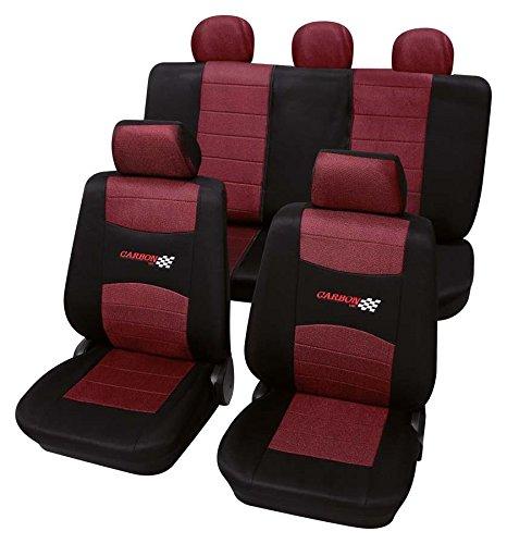 Carbon weinrot schwarz 6666 Schonbezug Sitzbezug Autoschonbezug Schonbezüge für das unten angegebene Fahrzeug