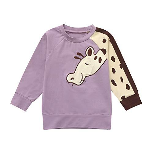 Janly Kleinkind-Säuglingsbaby-Mädchen-Jungen-Karikatur-Giraffen-Druck übersteigt T-Shirt-Outfits Karikatur-Giraffen-Spitzen-T - Shirt der Kinder lang (90, Lila)