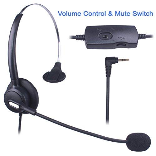 Xintronics 2,5mm Telefon Headset Mono, Noise Cancelling Mikrofon, Lautstärkeregler, Call Center Kopfhörer für Panasonic Polycom Grandstream Gigaset Cisco Linksys SPA Schnurlostelefon(X103VP) (Schnurgebundenes Schnurloses Telefon Headset)