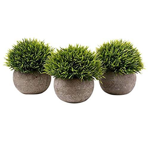LOLIANNI Hauptdekor-Satz 3pc künstliche grüne Gras-Wohnzimmer-Bonsai-Kunst-Anlage mit grauem Topf
