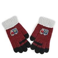 Wangcui Kinder Winterhandschuhe Verdickte Gestrickte Handschuhe für 4-8 (Farbe : H)