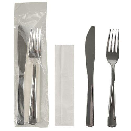 50 Bestecksets, metallisiert 23,5 cm x 5 cm silber : Messer, Gabel, Serviette, 1 x 50 Stück -