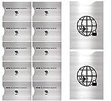 Set da 12 Custodie Blocco RFID - ANTI FRODE- Protezione di Carte di Credito e di Identità, Ideali per Portafogli/Passaporto – Isolamento chip Contactless RFID e Radio NFC - Alluminio