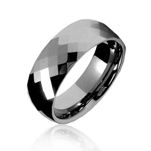 Bling Jewelry Paare Facettenreich Prisma Cut Ehering Ringe Tungsten Ringe Für Herren Für Damen Silber Ton Comfort Fit 8MM - 8mm Ehering