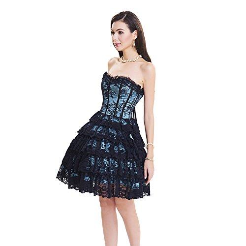 FeelinGirl Damen Vollbrust Korsagenkleid Corsagenkleid Corsage Korsage Korsett Corset Buslesque Partykleid Abendkleid Hellblau