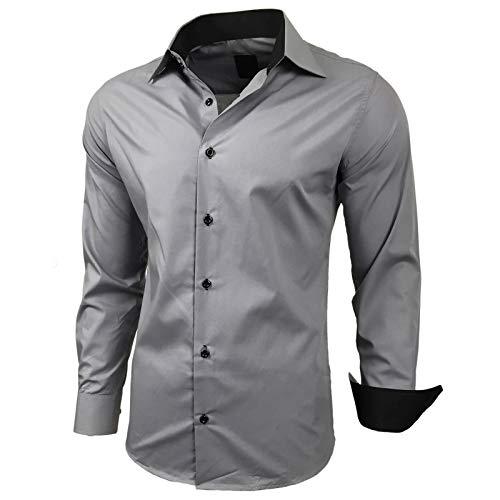 Kontrast Business Anzug Freizeit Polo Slim Fit Figurbetont Hemd Langarmhemd R-44, Farbe:Grau;Größe:2XL