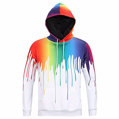 Men's 3D fummy Graffiti painted Harajuku Hoodies GhostWhite