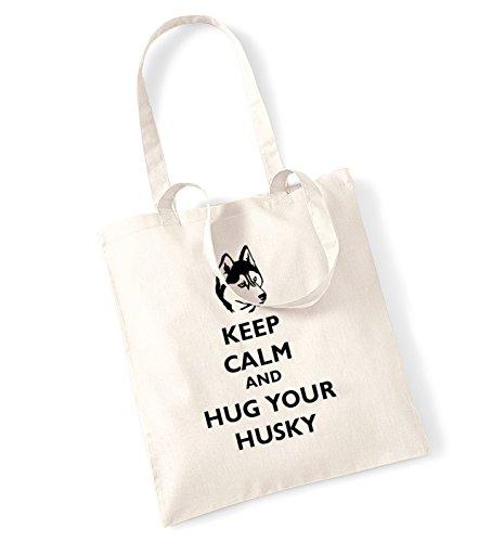 Keep calm and hug il husky tote bag Natural Venta Compras En Línea Xc7w6