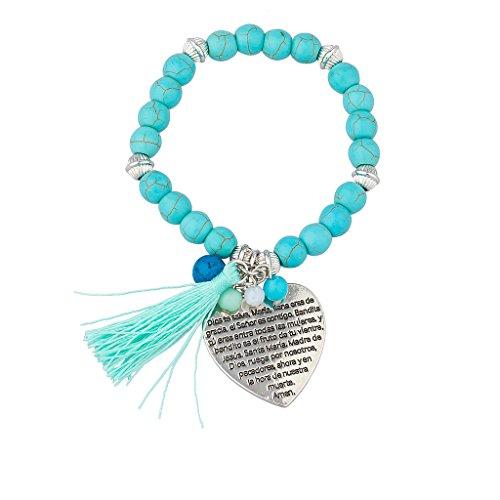 Lux accessori Ave Maria Dios Te Salve Maria Gesù Cristo Preghiera Perline Turchese Frange braccialetto