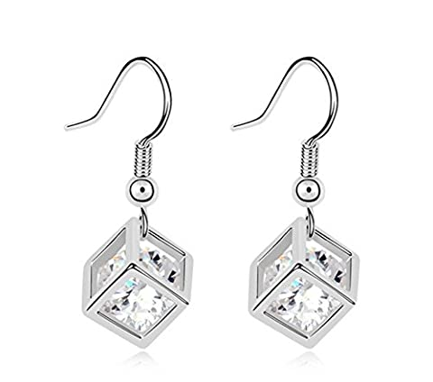 Buy any 2 & get 1 FREE! Silver Cube Earrings Pandora Box Style Silver Pendant Swarovski Elements Diamond Jewellery Vintage Hot Fashion Trend Ladies Jewellery (Silver Earrings