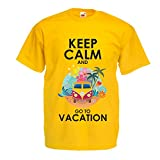 N4442 Männer T-Shirt Keep Calm and Go to Vacation (X-Large Gelb Mehrfarben)