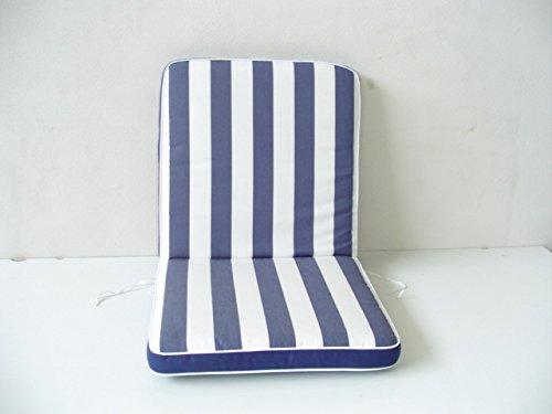 Paire de coussins de jardin pour extérieur pour chaise, fauteuil, dossier bas, couleur bleue à rayures, dimensions L. 49 x P. 47 x H. 53 cm, épaisseur 7 / 8 cm