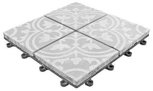 florco stone Zement Mosaik Klickfliese, Grau, 30 x 30 x 2,8 cm