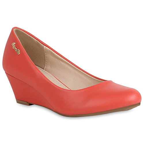 Damen Schuhe Keilpumps Leder-Optik Pumps Basic Wedges Keilabsatz 156578 Rot Basic 38 Flandell