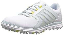 adidas Womens W Adistar Tour Golf Spikeless, FTWR White/Soft Blue-TMAG/Sunny Lime-TMAG, 5 M US