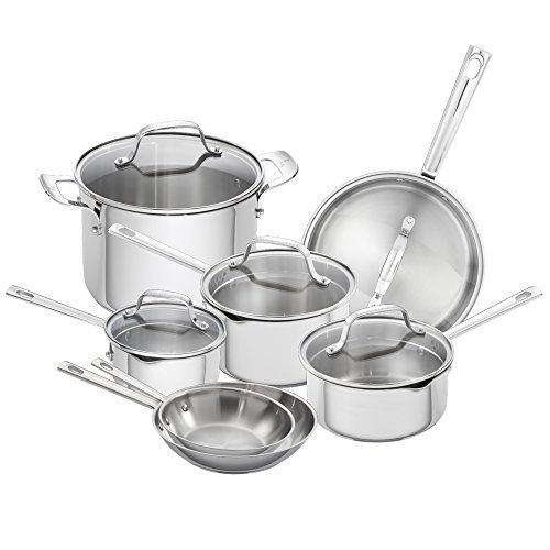 Emeril Lagasse 62950 12 Piece Stainless Steel Cookware Set, Assorted, Silver by Emeril Lagasse