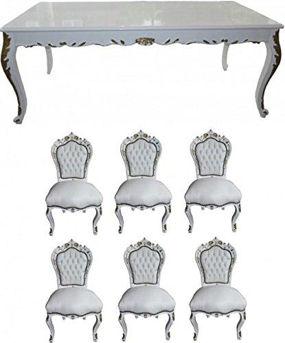 Casa Padrino Barock Esszimmer Set Weiß/Weiß/Gold - Esstisch + 6 Stühle - Möbel Antik Stil (Esszimmer Antike Stühle)