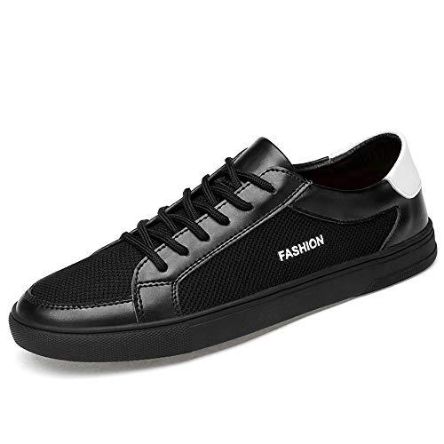 Casual Suede Shoe Die Sportschuhe der Sneaker-Männer schnüren Sich Oben Mesh-Material und atmungsaktive leichte runde Zehenschuhe aus PU-Leder Herren Sneaker (Color : Schwarz, Größe : 42 EU) - Mesh-suede Cap