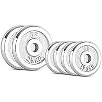 CAPITAL SPORTS CP 30 kg Set Juego de discos de pesas 2 x 5 kg + 2 x 10 kg 30 mm (Ejercicio peso fitness, hierro con cromado pulido, apto entrenamiento sin ...