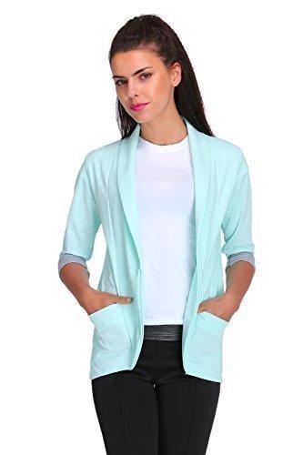 Futuro Fashion Elegance Femmes Veste Blazer Style avec Poches 3/4 Manche 2501 Menthe