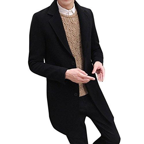 Herren Sakkos,Honestyi Herren Formal ledig Brust figuring Mantel lang wolle Jacke Outwear (Schwarz, M)