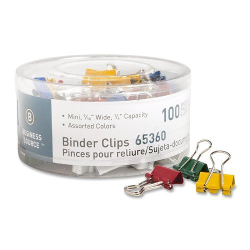 Business Source Mini Binder Clips - Pack of 100 - Assorted Colors (65360) by Business Source