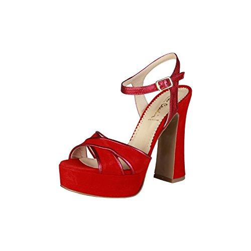 PIERRE CARDIN PIERRE CARDIN EW-1013 Sandali Donna Con Cinghia Regolabile Alla Caviglia Tacco: 13 cm, Altopiano 4 cm Rosso
