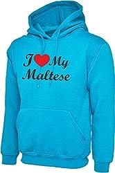 I Love Heart My Maltese Dog Sapphire Blue Hoody Hooded Sweatshirt With Black Text & Red Heart
