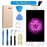 FLYLINKTECH Für iPhone 6 Display Weiß LCD Touchscreen Digitizer Ersatz Bildschirm Front Komplettes Glas mit Werkzeuge Für iPhone 6 Weiß 4.7
