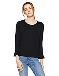 GAP Womens Plain Regular Fit T-Shirt (92042120006_TRUE BLACK KNIT_M)