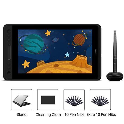 HUION KAMVAS Pro 12 IPS-Display Grafiktablett mit vollständig laminiertem, blendfreiem Glas-Bildschirm und 4 anpassbaren Kurzwahltasten und 1 Berührungsleiste und batteriefreiem Stift