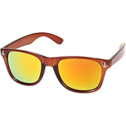Alsino Retro Vintage Look Nerd Anker Sonnenbrille verspiegelt , wählen:V-1207 braun