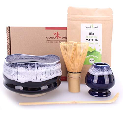 Goodwei Set di Matcha Completo - Tazza Cerimoniale con frusta e cucchiaio di bambù - incl. Tè Matcha Biologico Giapponese (Kori)