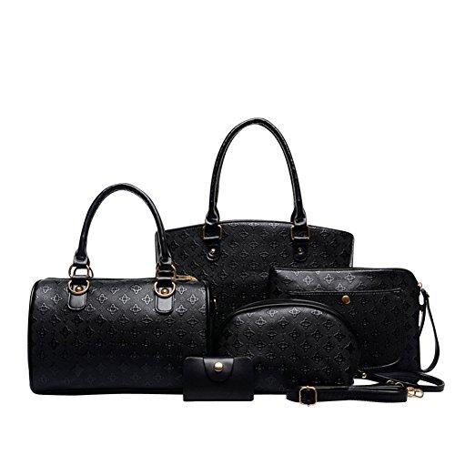 SaiDeng Femmes Élégant 5 Pcs Épaule Sac À Main Crossbody Pochette Noir