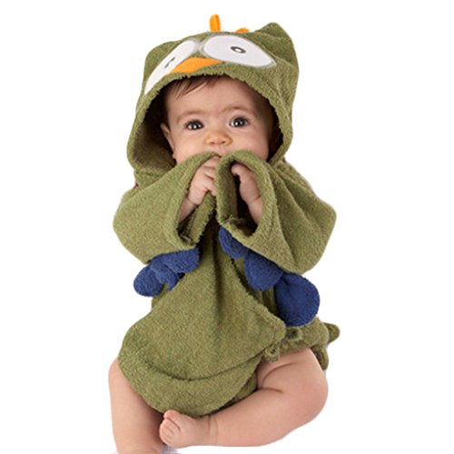 QHGstore Cartoon Mit Kapuze Tier Baby Badetücher Kinder Absorbent Baumwolle Bademäntel Pyjamas Grüne Eule