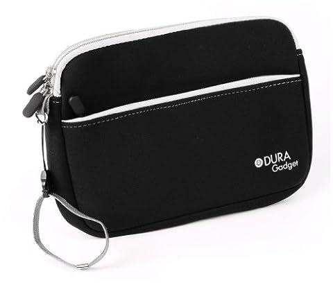 Housse étui noir résistant à l'eau + poignée de transport amovible pour lecteur DVD portable Philips PD7006P/05 et Odys Seal 7 - poche de rangement - DURAGADGET