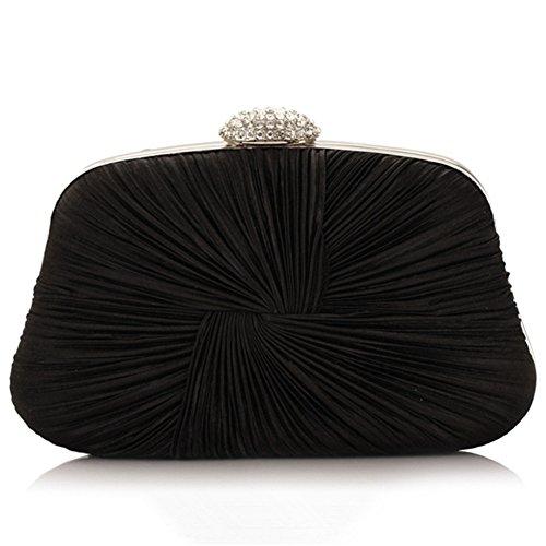 ERGEOB® Donna Clutch sacchetto di sera borsetta Clutch piccola raso frizione Borsa della sposa feste Donna Clutch taschino nero