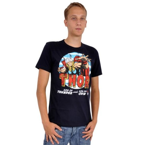 Thor Comic T-Shirt blau Helden Kult Marvel Marken Print Wikinger Stil Kämpfer Blau