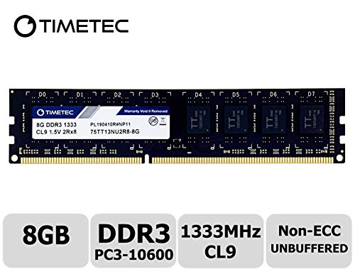 Timetec Hynix IC 8GB DDR3 1333MHz PC3-10600 Unbuffered Non-ECC 1.5V CL9 2Rx8 Dual Rank 240 Pin