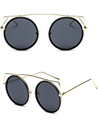 SCASTOE Women Round Sunglasses Metal Frames Cat Eye Sunglasses Retro UV400 Eyewear -Black