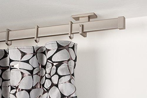 Incasa bastone per tende 31x12 mm rettangolare, l. 140 cm. in acciaio satinato – completo