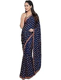Swara Fashion Women's Georgette Thread Work Saree(SFPSN-95_Navy Blue)