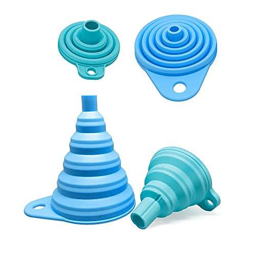 Collory Silikon-Trichter Satz faltbar (2 Stück) für Küche und Haushalt | Einfüllhilfe Set | Hitzebeständig -30°C - +230°C | Lebensmittelecht | Zusammenklappbar | 2er-Set: Blau (groß+klein)
