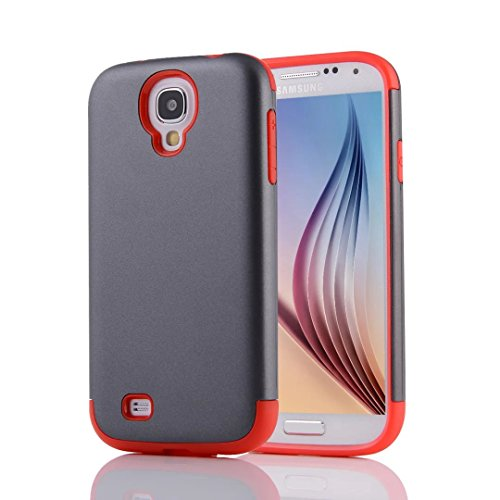 YHUISEN Galaxy S4 Case, 2 In 1 PC + TPU Dual Layer Armor Hybrid Schutz Schock Absorption Hard Back Cover Fall für Samsung Galaxy S4 I9500 ( Color : Gray Green ) Gray Red